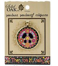 Solid Oak Acrylic Round Pendant Peace Sign, Acrylic, Multicolour