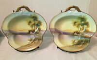 Vintage Noritake Cottage by water Leaf One Handle Nut/Candy Dish Set Of 2