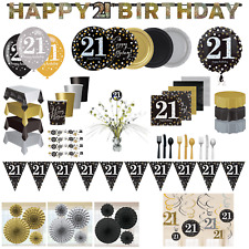 21st Birthday Decorations Party Tableware Gold Black Plates Cups Napkins Bunting