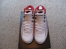 Mens Air Jordan 2 Retro, Size 8, White/Black-Vrsty Red-Cmnt Gry