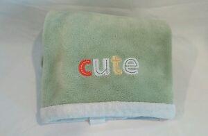 "Carters Green Cute Baby Blanket White Trim Carters 30x40"" Fleece Soft"