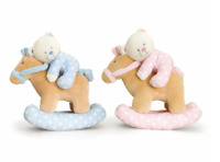 Keel Toys Babies Soft Musical Toy Rocking Horse With Bear Plush Pink Blue 22 cm