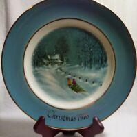 "Vintage AVON 1976 Christmas Plate ""Bringing Home the Tree"" Enoch Wedgewood EUC"