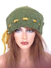 Beanie Hat Slouch Hand Knit Peruvian Wool Designer Fashion Adjustable Tie Hip