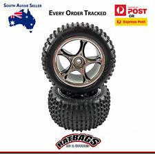"Traxxas Bandit Rear 2.2"" Alias Tyres & Chrome Tracer Rims Wheels 2470R Glued"