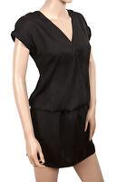 New Elegant Black Satin Evening Softly Draping V-Neck Black Dress Size 8 12 14