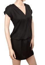 Plain Black Short Satin Drop-waist V-Neck Tunic Party Club Dress Size 8 10 12