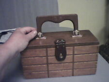 Vintage Wooden Box Purse Marked Designed by Simon Made in Hong Kong Styled by