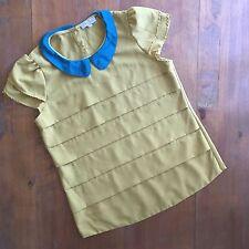 Maje Tiered Peter Pan Collar Blouse/Top-Size Medium-Olive Green-Layered Sleeve