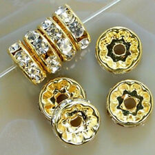 100pcs Wholesale Silver/Gold Plated Crystal Rondelle Spacer Beads 8mm 6mm ly