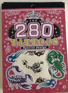 PARTY Tattoos tatoo 6 Sheets BOYS GIRLS Temporary Fake Body Art SCORPION ROSES 9