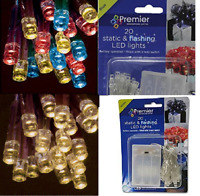 Premier Decorations 20/35 Battery Operated Static & Flashing LED Christmas Light