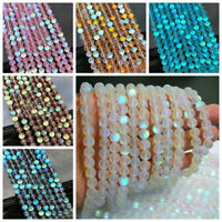 6mm Mystic Aura Quartz Gemstone Loose Beads Holographic Quartz Matte DIY Crafts