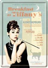 Retro Tin Metal Postcard BREAKFAST AT TIFFANYS Movie 10x14cm Audrey Hepburn Blue