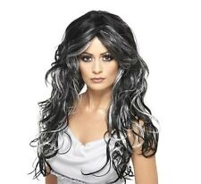 Mujer Disfraz de Halloween Gótico Novia Peluca Negro / gris NUEVO por Smiffys