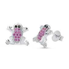 Ruby & Black Onyx Frog Stud .925 Sterling Silver Earrings
