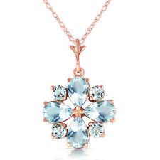 "Genuine Aquamarine Gemstones Flower 18"" Necklace 14K Rose Gold (2.43 ct.)"