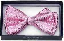 Unisex Pink Sequin Tuxedo Classic BowTie Neckwear Adjustable Pink Bow Tie