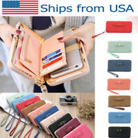 Women Lady Leather Wallet Purse Phone Bag Box Clutch Handbag Long PU Holder Card