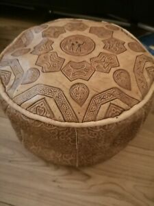 Small Genuine Leather Pouffe Moroccan Poufe Handmade Footstool New Other