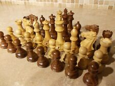 "LARGE 4"" REPRODUCTION ANTIQUE CHESS SET/PIECES,4 QUEENS,STAUNTON STYLE WOODEN"