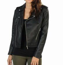 Adidas UK Size 12 Women's Ladies Black Leather Jacket Fashion Coat Blazer