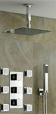 "Thermostatic Shower Panel Valve 8"" Bathroom Shower Head Body Massage Spray Jets"