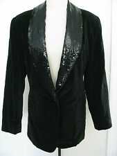 THE LIMITED Black Velvet Feel 100% Cotton Jacket With Black Sequins Size M,NWT!