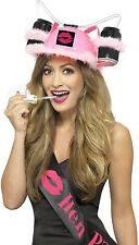 Ladies Pink Hen Night Drinking Hat With Straw Fancy Dress Costume Accessory