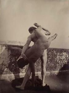 Von Gloeden -Nude Wrestlers -Vintage Photograph c. 1890 -NY Gallery Provenance