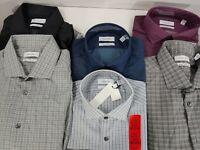 Calvin Klein Mens 2 Pack Slim Fit Stretch Fabric Dress Shirt Plaid Set Button Up