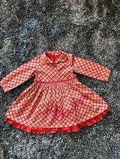 WORN ONCE - OILILY RED & PINK DRESS PATTERNED - AGE 24 months