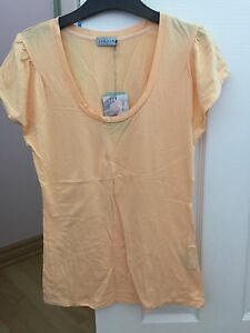 Jigsaw clothing soft orange peach pleated shoulder scoop tshirt womens 1 RRP69