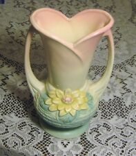 """VINTAGE HULL POTTERY VASE """"WATER LILY PATTERN"""" L-10  9 1/2"""" PINK FLORAL"""
