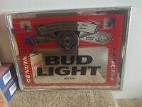 "1995 Bud Light Genuine Beer Budweiser Mirror Sign Bar Man Cave Approx 19"" X 25"""