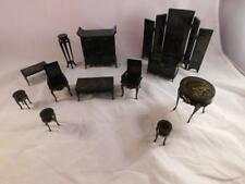 Vintage Asian Dollhouse Furniture Set Black Lacquer Oriental Miniatures Lot