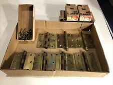 """(7) Hager Vintage Antique 3.5"""" Door Hinge Brass Plated Steel"""