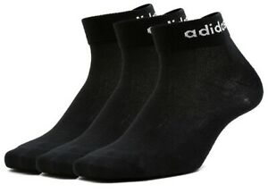 3 PACK - Adidas Logo Ankle Sports Socks - Black - Mens Womens Unisex