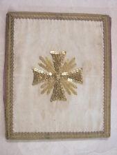 BOURSE de CORPORAL ANCIENNE sequins brodée fil or PRETRE EGLISE RELIGION