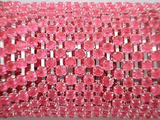 Acrylic 3mm Rhinestone Chain 1m Pink/Silver Costume Sew Dance FREE POSTAGE
