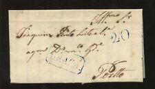 PORTUGAL 1841 COVER + LETTER..20c + BRAGA BOXED in BLUE