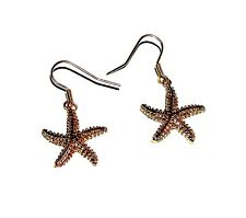 EARRINGS Wires GT Small Textured Dangles Goldtone Star Fish STARFISH