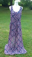 MAURICES PINK AND BLUE FLORAL PRINT SLEEVELESS MAXI DRESS XL