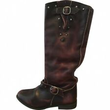 Golden Goose Distressed + cloutées Brown Leather Biker Boots Size 39 IT UK 6