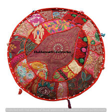 Indian 16'' Round Cushion Cover Boho Patchwork Floor Pillows Case Throw Decor