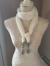 ladies white teardrop pendant jewellery silver scarf scarves charm present gift