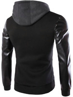 New Men's Coat Casual Hooded Outwear PU Leather Patchwork Hoodies Jacket