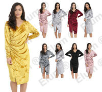 New Women's Ladies Crushed Velvet V Neck Long Front Ruched Midi Dress