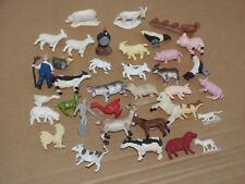 Lot Of Toy Plastic Small Animal Figures - Farm Horses Cow Sheep Goats