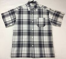 Caltop Shadow Plaid Shirt 90s Flannel Pattern Short Sleeve Men's Medium